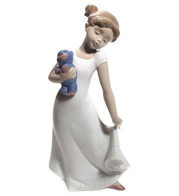 Nao Porcelain by Lladro AM I ELEGANT? ( GIRL HOLDING TEDDY BEAR ) 2001690
