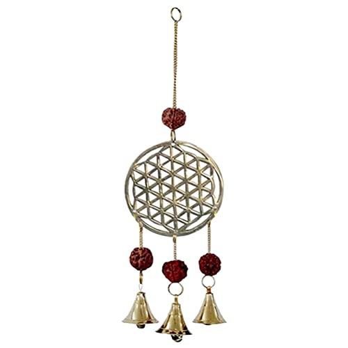 Carillon à Vent Fleur de Vie + Cloches et Graines de Rudraksha, hauteur 27cms
