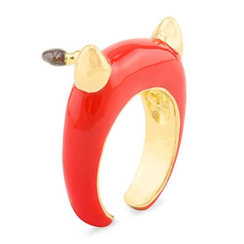 Monkimau Damen Ringe Teufel aus Messing Gold plattiert mit Emaille handbemalt