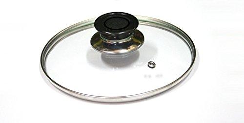 Takestop® Couvercle en verre trempé pour poêle, casserole, cocotte, compatible avec cuisinière à gaz, passe au lave-vaisselle, Ø 26 cm