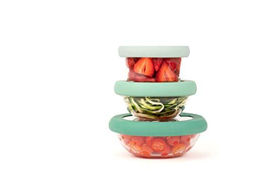 Food Huggers Flexibel, stapelbar, umweltfreundlich, patentiert, Glas- und Silikondeckel – spülmaschinenfest – plastikfrei, Set mit 3 Stück, allmähliche grün, extra klein, klein und mittel (XS, S, M)