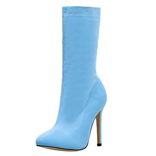 TOPKEAL Elegante Botas de Tela Elástica Color Liso Moda Mujer Azules Zapatos Puntiagudos Stiletto Tacón Alto de Fiesta