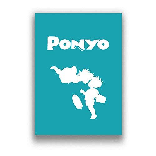 Ponyo över klippan Klassisk tecknad Japan-film Anime-affischer och väggkonsttryck Dekorativ affisch Heminredning 50x70cm (19,68x27,55 in) Q-1665