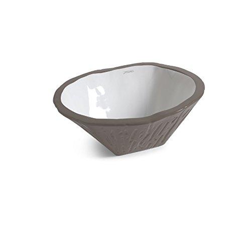 Vasque Lavabo à Poser/Suspendu Ovale Terra Basalte Mat en céramique - 54x46xh20 cm (avec bassin blanc)