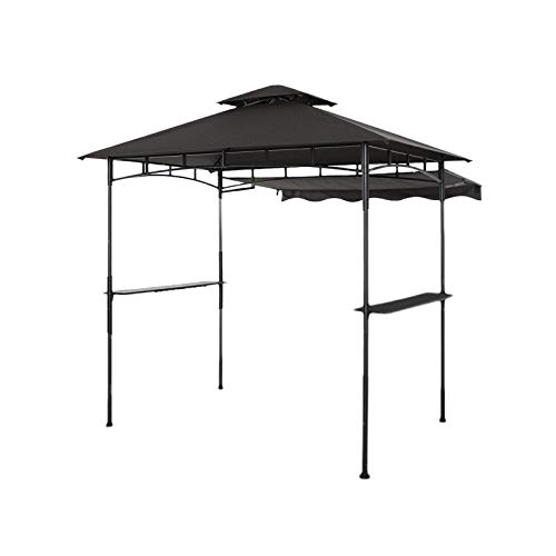 CHARMELEON Double Tiered Grill Gazebo 8X 5, Outdoor BBQ Patio Canopy Tent with Stretchable Side Awning and LED Light (Gray)