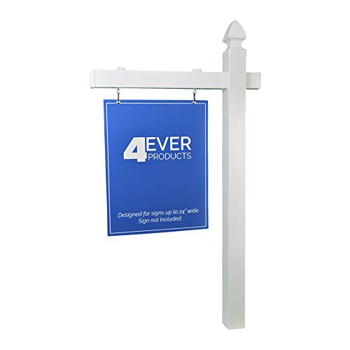 4EVER Vinyl PVC Real Estate Sign Post - White (Single)