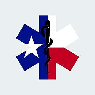 fagraphix Texas State Shaped EMT Flag Sticker Self Adhesive Vinyl Decal EMS Paramedic TX