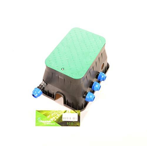 """Ventilbox ECO - 3 x Hunter PGV-100 MM Magnetventil (3 Zonen), mit 32 mm (1\"""") Anschlüssen für PE-Rohr Bewässerung. 24VAC Ventilverteilung DVS-Beregnung"""