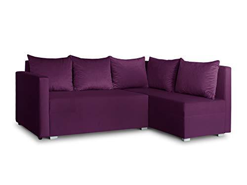 Ecksofa mit Schlaffunktion Filo - Couchgarnitur mit Bettkasten, Couch L-Form, Sofagarnitur, Schlafsofa, Polsterecke, Bett (Lila (Kronos 03), Ecksofa Rechts)