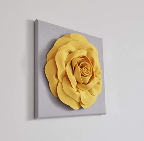 Large Mellow Yellow Rose on Gray 12 x 12″ Canvas Flower Wall Art Decor for Indoor Home Bedroom Living Room Office Kitchen, Bathroom