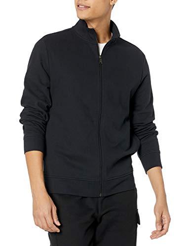 Amazon Essentials Lightweight French Terry Full-Zip Mockneck Sweatshirt Felpa, Nero, L