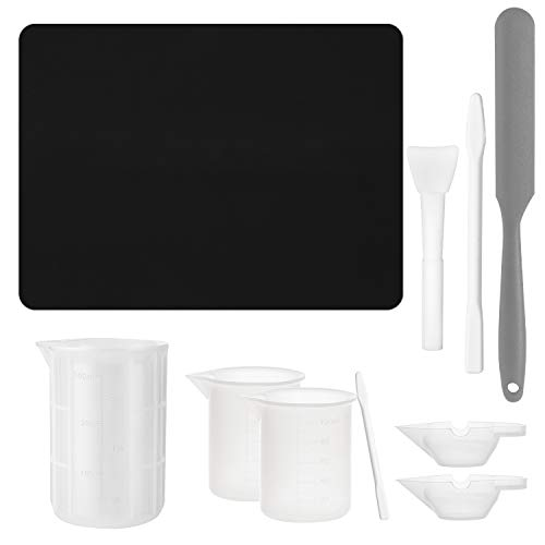 Gartful Resin Casting Tool Kits, Extra Large Silicone Craft Mat, 300ml & 100ml Measuring Cups, Mixing Cups, Spatula Stick, Silicone Brush, Hand Stir Sticks, Reusable DIY Craft Set, Pack of 10