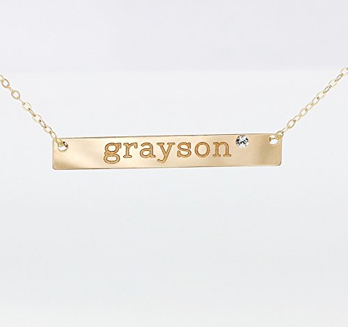 Personalized 14K Gold Fill Nameplate Necklace with Swarovski Crystal Diamond, 925 Sterling Silver Long Name Bar Birthstone Sister Jewelry, 14K Rose Gold Fill Engraved Initial Pendant