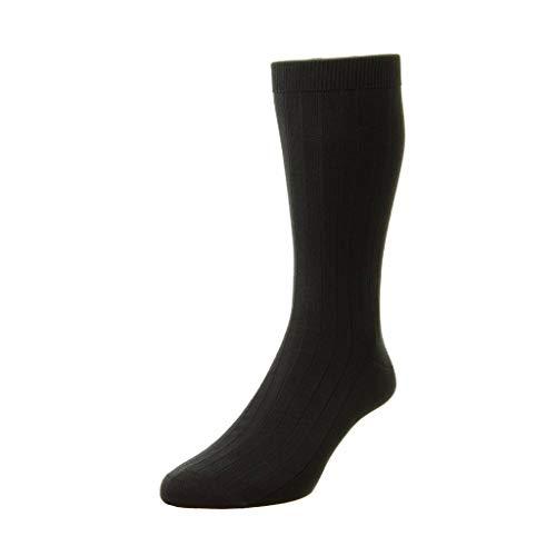 Pantherella Pembrey Sea Island Herren-Socken, Baumwolle, wadenhoch - Schwarz - Medium