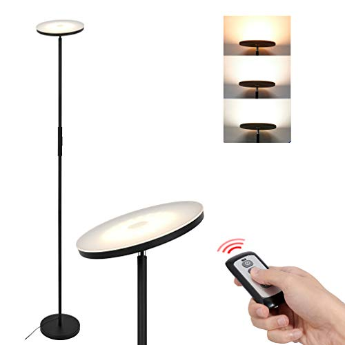 Anten 20W Schwarze LED Stehlampe Dimmbar, Standleuchte mit Fernbedienung, Farbwechsel 3000-5000K, Touch-Taste, Memoryfunktion, LED Deckenfluter für Büro Wohnzimmer Schlafzimmer Studierzimmer