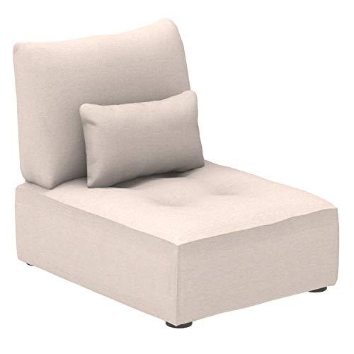Marca Amazon -Alkove Elvas - Módulo uniplaza con almacenaje y cojín adicional para sofá modular, 70 x 100cm, beige
