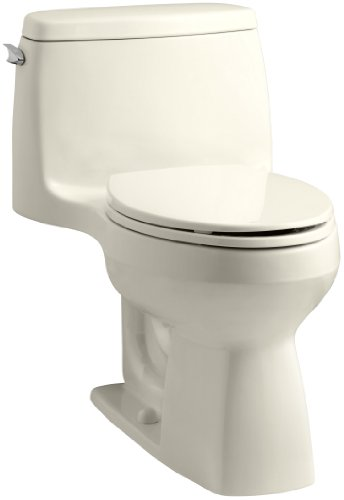 Kohler K-3811-47 Santa Rosa Comfort Height One-piece Compact Elongated 1.6 Gpf Toilet with Aquapiston Flush Technology and Left-Hand Trip Lever, Almond