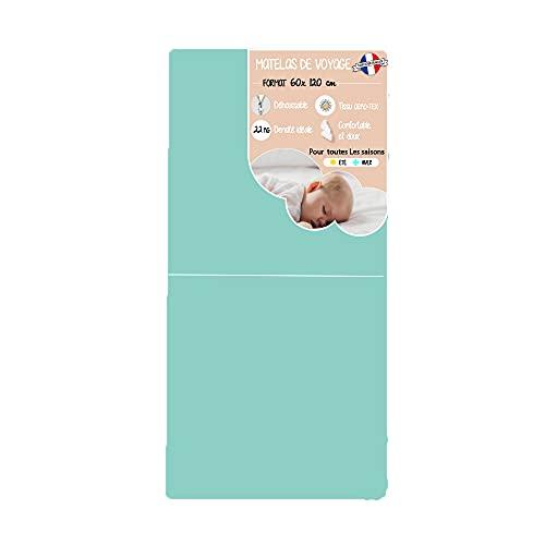 Matelas bébé 60x120 de voyage pliant déhoussable pour lit parapluie - 60x120x5cm Fabrication Française