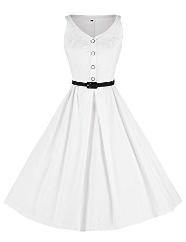 GownTown Womens 1950s Vintage Dress V-Neck Dresses Swing Stretchy Dresses