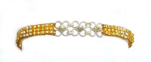 Mishky 'Flower Net Silver Plated Metallic Goldtone Mesh Seed Beaded Bracelet, Adjustable