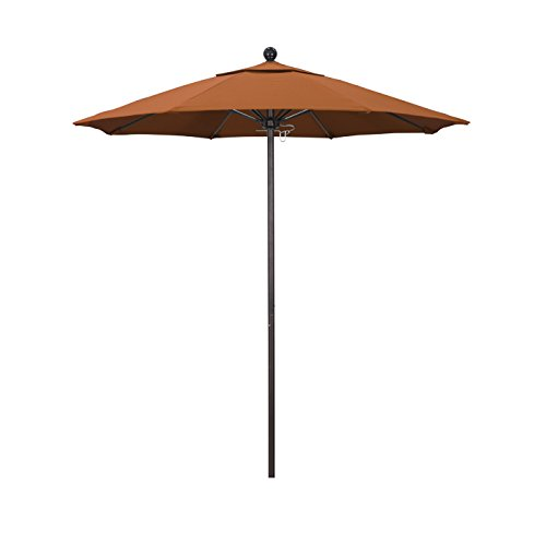 California Umbrella 7.5' Round Aluminum/Fiberglass Umbrella, Push Open, Bronze Pole, Sunbrella Tuscan Fabric