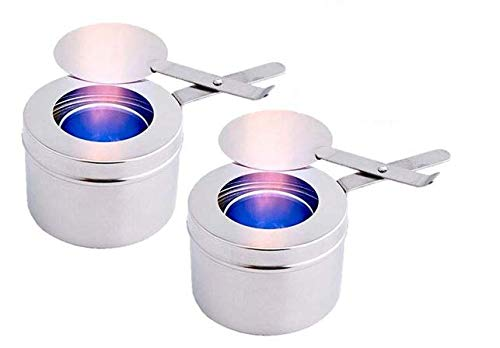 Stainless Steel Chafer Wick Fuel Sterno Canned Heat Holder with Safety Cover Perfect for Buffets and Catering Events  2 Pack