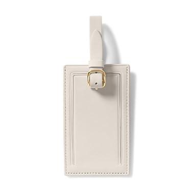 Standard Rectangular Luggage Tag - Italian Leather Leather - Ivory (white)