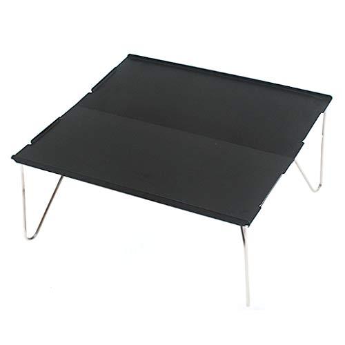 LZL Mesa de Aluminio de Mesa Plegable al Aire Libre Mini Camping Mesa de Barbacoa Puede ser Empalmado Mesa de Centro de Aluminio pequeño de Aluminio único (Color : Black)