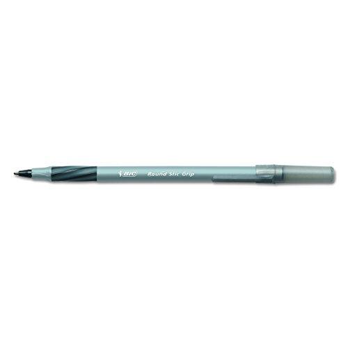 BIC Round Stic Grip Xtra Comfort Ballpoint Pen, Fine Point (0.8mm), Black, 12-Count