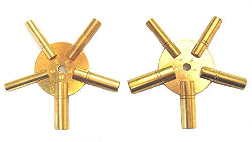 2 Stück Uhrenschlüssel, Sternschlüssel Nr. 4-6-8-10-12+3-5-7-9-11 Uhren Schlüssel