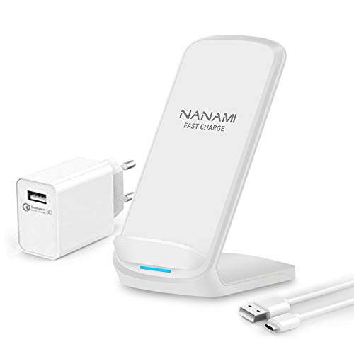 NANAMI Fast Wireless Charger, Qi induktions drahtloses ladegerät (mit Quick Charge 3.0 Adapter) für iPhone 11/XR/XS/X/8/8 plus, 10W Schnelles Kabelloses Ladestation für Samsung Galaxy S20 S10 S9 S8 S7