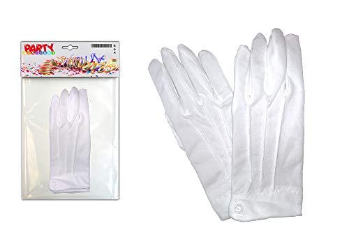 PARTY DISCOUNT ® KMU90017802 Handschuhe Herren aus Baumwolle, weiß mit Biesen