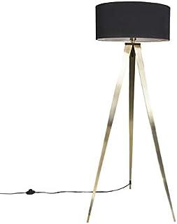 QAZQA tripe - Lampe de table trépied/tripode Moderne - 1 lumière - H 1440 mm - Noir - Moderne - Éclairage intérieur - Salo...