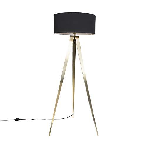 QAZQA Modern Stehleuchte/Stehlampe/Standleuchte/Lampe/Leuchte Tripe/Tripod/Dreifuß Messing mit schwarzem Lampenschirm/Innenbeleuchtung/Wohnzimmerlampe/Schlafzimmer Textil/Stahl Läng