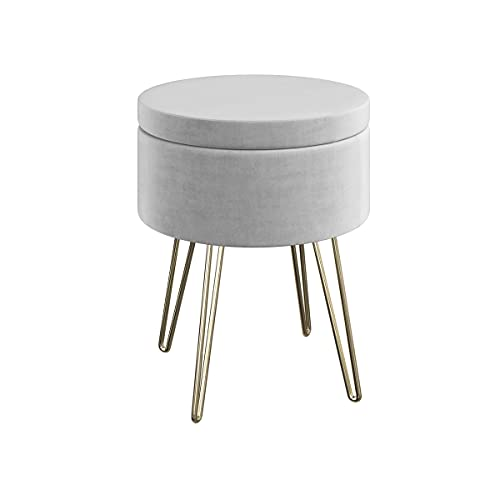 Round Storage Ottoman – Foot Stool with Faux Velvet Exterior, Hairpin Legs, and Removable Lid – Footrest for Living Room by Lavish Home (Gray)