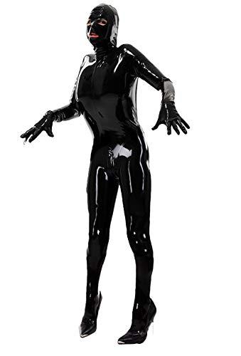 MDXRZ Herren Damen Sexy Lackleder Dessous Kostüm Catwoman Latex Catsuit PVC Body Overall Kleid Clubwear,Schwarz,M