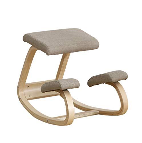 Ergonomischer Kniestuhl Hocker,Bürostuhl Kniender Hocker,Wirbelsäulen Korrektur Stuhl,Kniestuhl aus Holz für Zuhause und Büro Geeignet (braun)