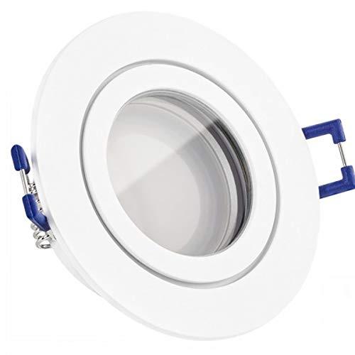 IP44 LED Einbaustrahler Set Weiß matt mit LED GU5.3 / MR16 Markenstrahler von LEDANDO - 5W - warmweiss - Feuchtraum/Badezimmer - LED Spot 5 Watt - Spritzwasserschutz