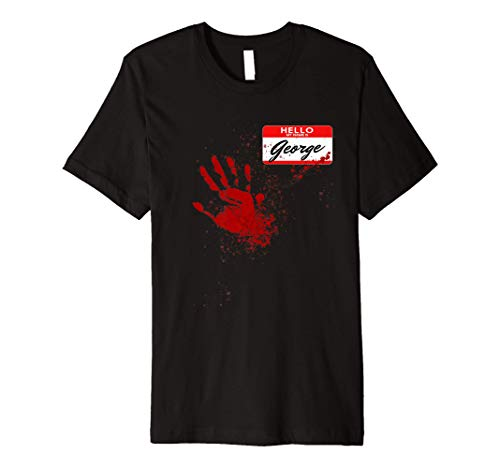 Mens Hello My Name Is George - Blood Hand - Scary Halloween Premium T-Shirt