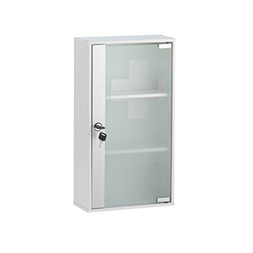 axentia Medizinschrank in Weiß, MDF Schrank zu Wandbefestigung, Tür aus satiniertem Sicherheitsglas, Medikamentenschrank zum Abschließen, Sicherheit für Ihre Kinder, Arzeneimittelschrank