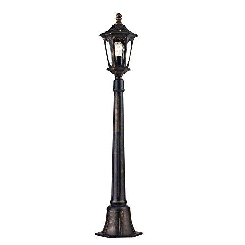 Antike klassische Pollerleuchte Garten Laterne schwarzes Metall, klares Glas, 108cm hoch, Wegeleuchte, vintage, exkl.1 E27 100W IP44