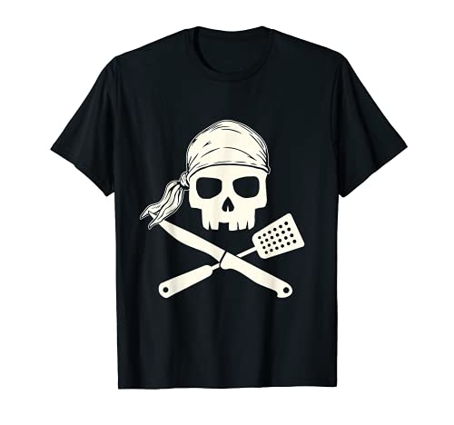 Skull with Knife and Spatula Cooking BBQ Chef Grill Cookout T-Shirt