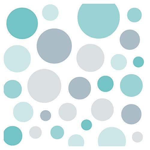 Little Deco Wandsticker 86 Punkte Kinderzimmer Junge Mädchen Kreise | türkis grau | viele Farben Wandtattoo Klebepunkte Wandaufkleber Dots bunt DL390