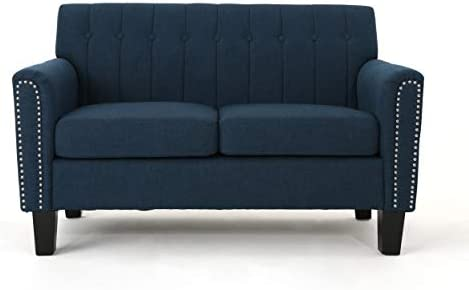 Best Christopher Knight Home Jacopo Traditional Fabric Loveseat, Navy Blue / Dark Brown