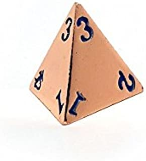 Rose Gold Metal D4 Dice - Single 4 Sided RPG Dice with Electric Blue Numbering