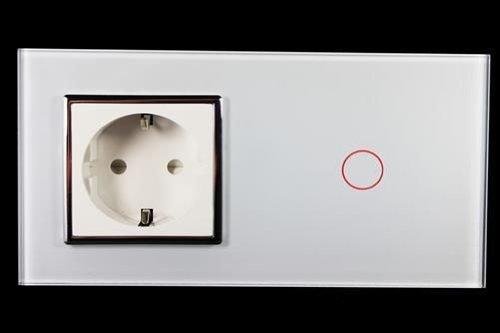 Kombination Design Glas Touch Lichtschalter 1 fach und Glas 1 fach Steckdose weiß