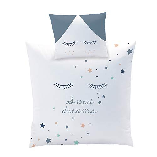 STERNE Baby Bettwäsche Set für Wiege/Kinderwagen/Stubenwagen ☆ SWEET DREAMS · 2 teilig · Kissenbezug 35x40 + Bettbezug 80x80 cm