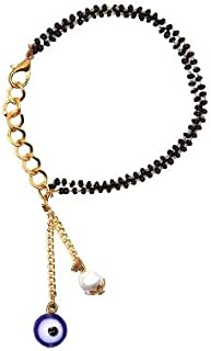 The Bling Stores Pearl and Evil Eye Mangalsutra Bracelet for Women with Adjustable Chain Fitting
