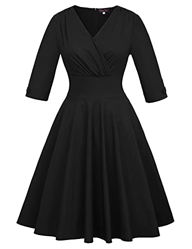 Work Dress for Women Office Tea Party Homecoming Teacher Dresses Plus Size Black 24W 5X
