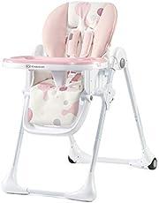 Kinderkraft Hög barnstol YUMMY, barnmatstol, ergonomisk, bekväm, lutning, hopfällbar, med justerbar höjd, fotstöd, avtagbar dubbelbricka, för småbarn, från 6 månader till 3 år, rosa